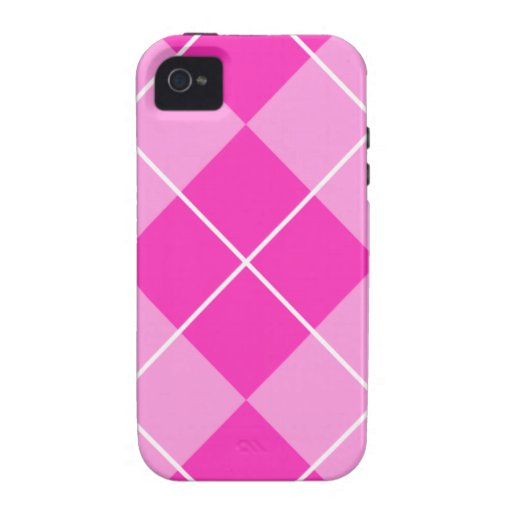 Pink & Fuschia Argyle Case-Mate iPhone 4 Covers