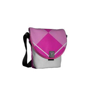 Pink & Fuschia Argyle Courier Bag