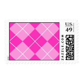 Pink & Fuschia Argyle Postage Stamp