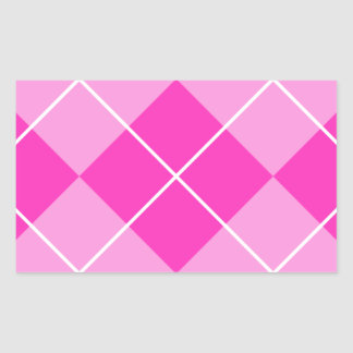 Pink & Fuschia Argyle Rectangular Sticker