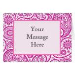 Pink Fushia Floral Pattern Greeting Cards
