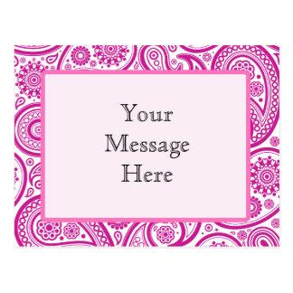Pink Fushia Floral Pattern Postcard