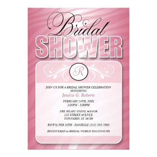 Pink Fusion Zebra Print Bridal Shower Invitations