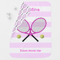 Pink future tennis star personalized striped baby blanket