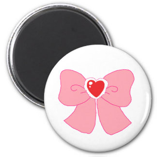 Pink Fuzzy Heart Bow 2 Inch Round Magnet
