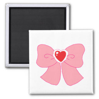 Pink Fuzzy Heart Bow 2 Inch Square Magnet