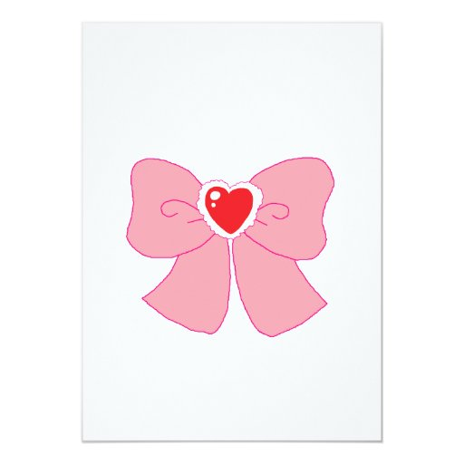 Pink Fuzzy Heart Bow 5x7 Paper Invitation Card