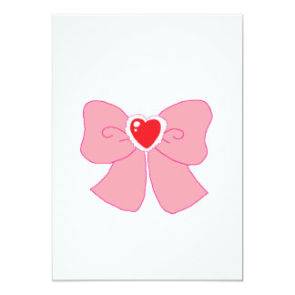 Pink Fuzzy Heart Bow Card
