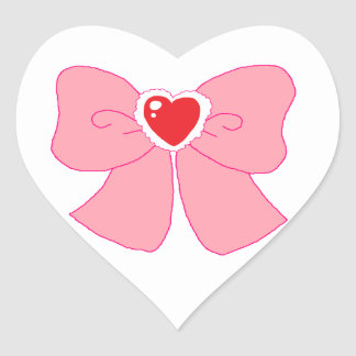 Pink Fuzzy Heart Bow Heart Stickers