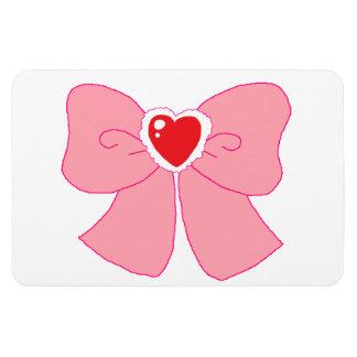 Pink Fuzzy Heart Bow Rectangular Photo Magnet