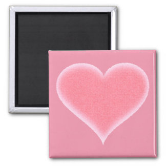 Pink Fuzzy Heart Customizable 2 Inch Square Magnet