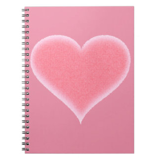 Pink Fuzzy Heart Customizable Notebook