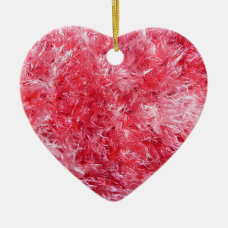 Pink Fuzzy Heart Save the Date Wedding Anniversary Ceramic Ornament
