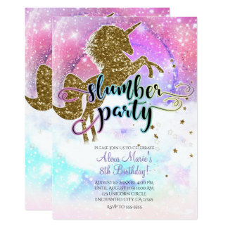 Pink Galaxy Magical Unicorn Sparkle Slumber Party Card