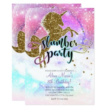 Beach Themed Pink Galaxy Magical Unicorn Sparkle Slumber Party Card