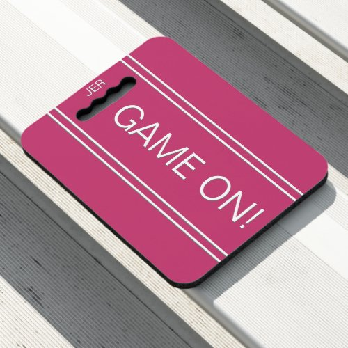 Pink GAME ON Quote Monogrammed Stadium Sports Seat Cushion