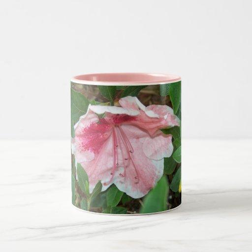 Pink Garden Azalea in Bloom Floral Coffee Two-Tone Coffee Mug