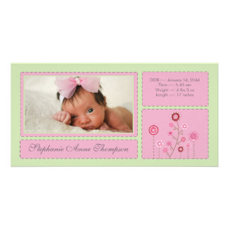 Pink Garden Baby Girl Birth Announcement PhotoCard