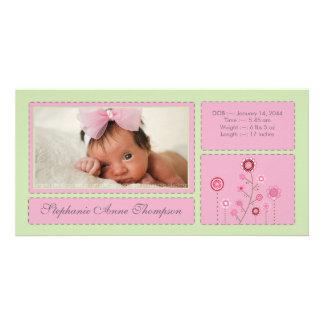 Pink Garden Baby Girl Birth Announcement PhotoCard