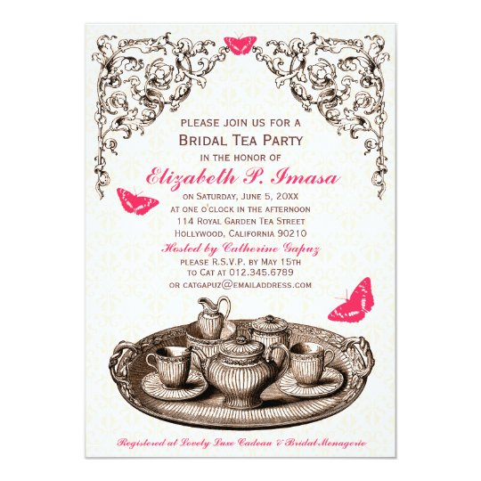Pink Garden Bridal Tea Party Invitations