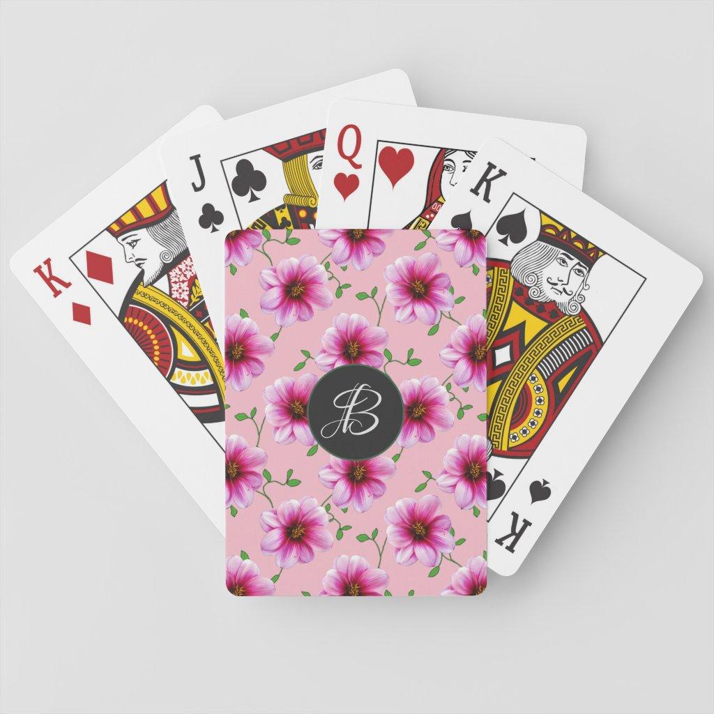 Pink Garden Flowers with Custom Monogram
