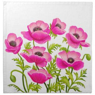 Pink Garden Poppy Flowers American MoJo Napkin