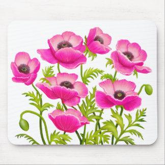 Pink Garden Poppy Flowers Mousepad