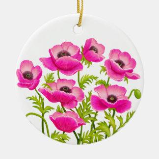 Pink Garden Poppy Flowers Ornament