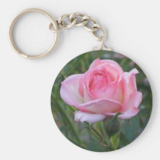 Pink Garden Rose 2 Keychain