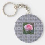Pink Garden Rose 4 Key Chains