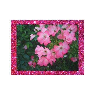 Pink Garden Rose Floral Pretty Girly Sparkle Art Canvas Print