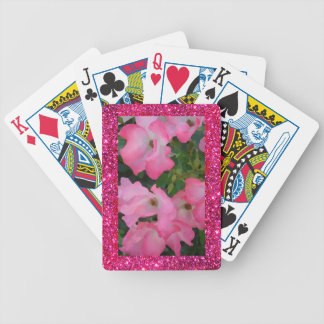 Pink Garden Rose Floral Pretty Girly Sparkle Bicycle Playing Cards