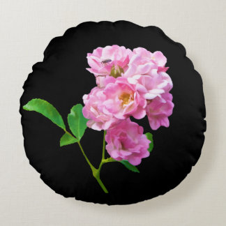 Pink Garden Roses and Beetle Customizable Round Pillow