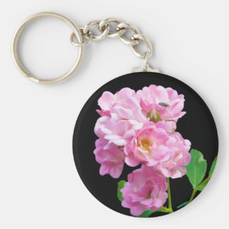 Pink Garden Roses and Beetle Keychain