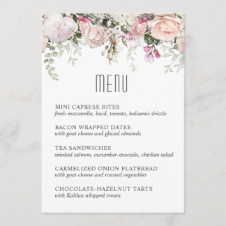Pink Garden Roses Luncheon or Shower Menu