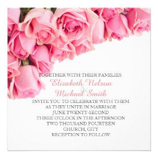 Pink Garden Roses Wedding Invite