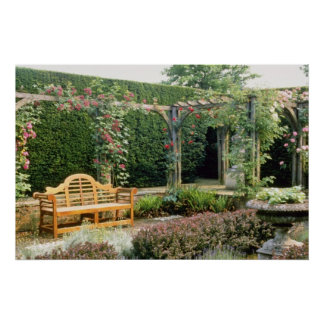 Pink Garden Seat In Rose Pergola, With Berberis An Poster