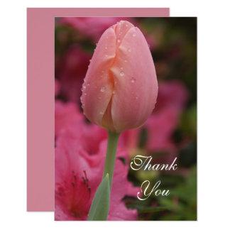 Pink Garden Tulip Flat Thank You Notes Card