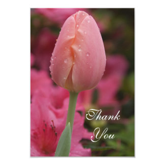 Pink Garden Tulip Flat Thank You Notes Card