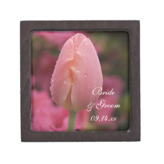 Pink Garden Tulip Wedding Jewelry Box