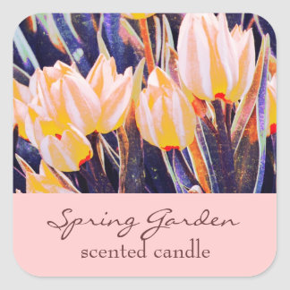 pink garden tulips - scented candle or soap label sticker