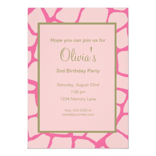 Pink Gariffe Birthday Invitation