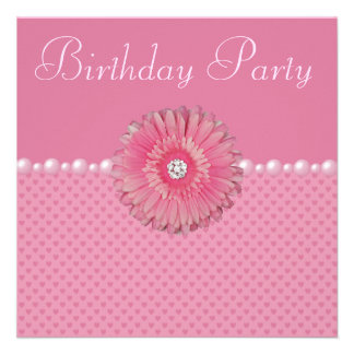 Pink Gebera Pearls Hearts Birthday Party Personalized Invitation