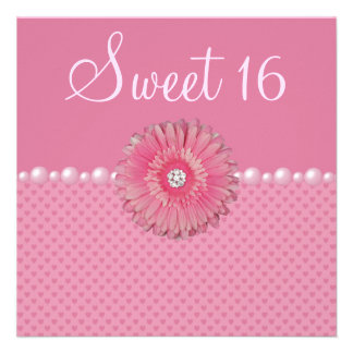 Pink Gebera Pearls Hearts Sweet 16 Party Personalized Invite