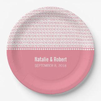 Pink Geek Chic Binary Code Paper Plates