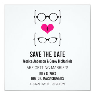 Pink Geeky Glasses Save the Date Announcement