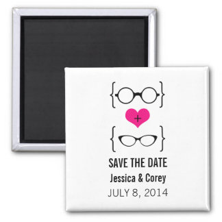 Pink Geeky Glasses Save the Date Magnet
