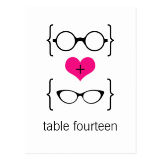 Pink Geeky Glasses Table Number Postcard