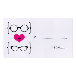 Pink Geeky Glasses Wedding Place Cards Business Card Template