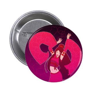 Pink Geisha Dancer Japanese Pop Art Flair Button